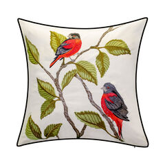 Indoor & Outdoor Embroidered Birds Decorative Pillow,