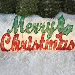 Pre-Lit Merry Christmas Sign ,