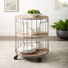 Ani 3-Tiered Metal and Wood Rolling Cart,
