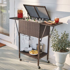 Santiago Rolling Cooler with Stemware Holder, BROWN