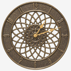 "Spiral 14"" Indoor Outdoor Wall Clock,"