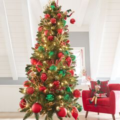 7 slim arrow tip pre lit tree - Decorated Artificial Christmas Trees