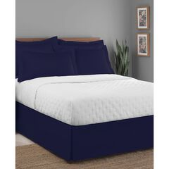 "Luxury Hotel Classic Tailored 14"" Drop Navy Bed Skirt, NAVY"