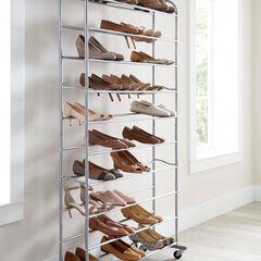 50-Pair Rolling Shoe Rack,