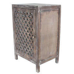 Distressed Quatrefoil End Table with Mirror Accent,