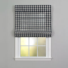 Buffalo Check Roman Shade, BLACK WHITE