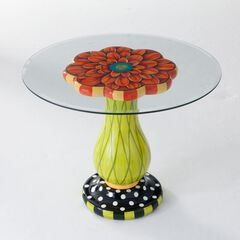 Glass-Top Flower Table,