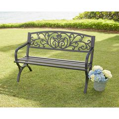 Steel Garden Bench & Cushion Set,