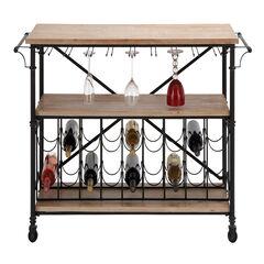 Natural Brown Industrial Metal Wine Storage, 31 x 48,