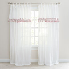 Rosalie Tie-Top Embroidered Panel with Attached Valance, IVORY ROSE