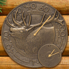 "Elk 14"" Clock and Thermometer Combo , FRENCH BRONZE"