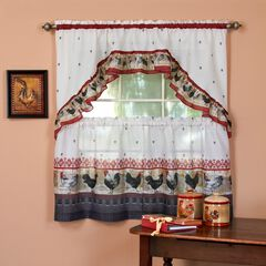 Rooster Printed Tier and Swag Window Curtain Set,