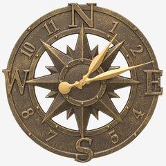 "16"" Compass Rose Clock,"