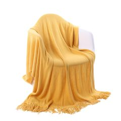 """Battilo Home Solid Blanket Cross Woven Couch Throw Knitted Blanket With Decorative Fringe Lightweight For Bed Or Sofa Decorative 51"""" X 79"""","""