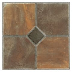"Sterling 12"" x 12"" Self Adhesive Vinyl Floor Tile - 45 Tiles/45 sq. Ft, RUSTIC SLATE"