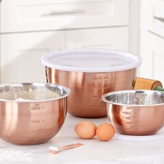 6-Pc. Set of Copper Mixing Bowls & Lids,