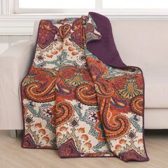 Greenland Home Fashions Nirvana Quilted Throw Blanket, SPICE