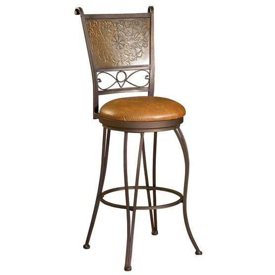 "Bronze with Muted Copper Stamped Back Bar Stool, 30""H, COPPER"