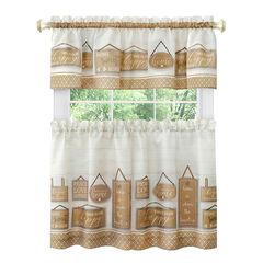 Modern Farmhouse Tier and Valance Window Curtain Set,