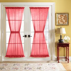 BH Studio Sheer Voile Door Panel With Tiebacks, RED