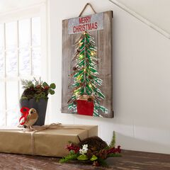 Pre-Lit Wooden Merry Christmas Plaque,