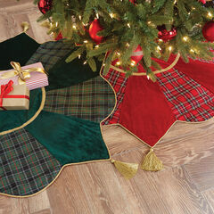 Plaid Tree Skirt with Tassels, GREEN MULTI