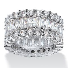 Platinum over Silver Baguette Eternity Bridal Ring Cubic Zirconia,