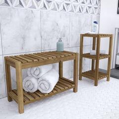 Jambira Solid Wood Bath Storage Set – 2pc,