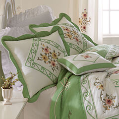 Ava Embroidered Cotton Breakfast Pillow,