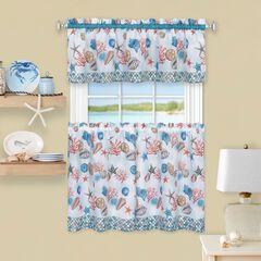 Coastal Tier and Valance Window Curtain Set,