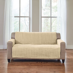 Reversible Plush Stripe Loveseat Protector, GOLDEN TAN