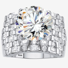 Platinum over Sterling Silver Round Ring Cubic Zirconia (9 cttw TDW),