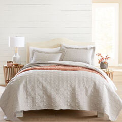 3-Pc. Leaf Pattern Embossed Quilt Set, STONE