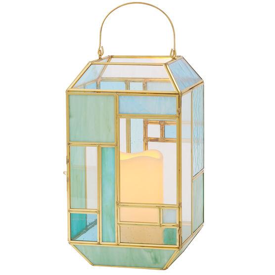 "11""H Mosaic Lantern , BLUE GREEN"