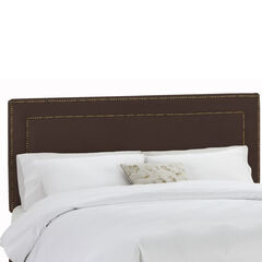 Upholstered Nail Button Border Headboard in Velvet,