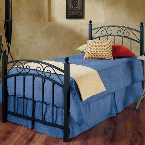 """Twin Bed Set with Bed Frame 78""""Lx41¼""""Wx36¼""""  , BLACK"""