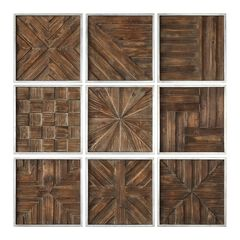 Bryndle Rustic Wooden Squares, Set of 9,