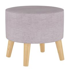 Linen Round Ottoman with Splayed Legs, LINEN SMOKEY QUARTZ