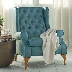Queen Anne Style Tufted Wingback Recliner, BLUE HAZE