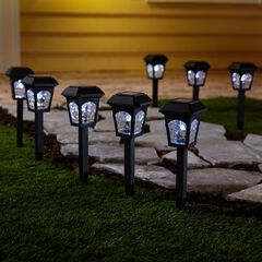 Black Solar Lights, Set of 8,