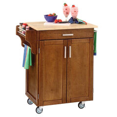 Cottage Oak Finish Create a Cart with Wood Top ,