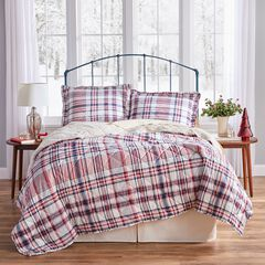 Plaid Sherpa Back 3-Pc. Quilt Set with Free Tote Bag,