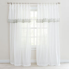 Rosalie Tie-Top Embroidered Panel with Attached Valance, IVORY SAGE