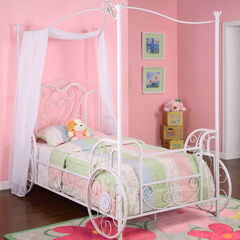 Princess Emily Carriage Canopy Twin Size Bed (includes Bed Frame),