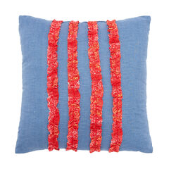 "Luna Ruffled 16"" Decorative Pillow, DENIM MULTI"