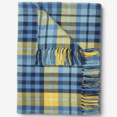 Plaid Tassel Throw, BLUE MULTI