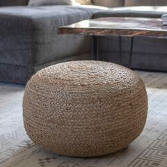 Round Woven Pouf by J. Hunt, NATURAL