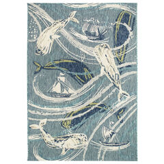 Liora Manne Portofino Whale Tale Indoor/Outdoor Rug,