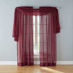 BH Studio Crushed Voile Scarf Valance, WINE