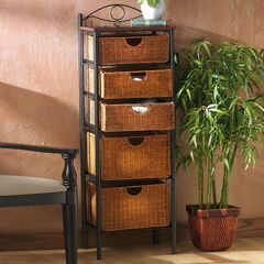Iron/Wicker Five Drawer Unit,